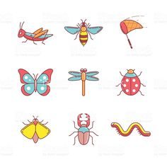 Insects thin line icons set royalty-free stock vector art