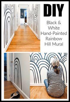 DIY Hand-Painted Black and White Rainbow Hills Mural super easy! #diydecor #mural #blackandwhitedecor #wallpaper #wallart #walldecor