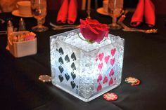 Beautiful Glowing Casino Centerpiece Vase - See more: http://www.internetbet.com/casino-centerpieces/ #centerpiece #centerpieceideas