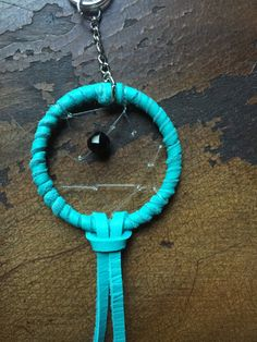 Black and Turquoise Dreamcatcher Keychain by CatchThoseDreams