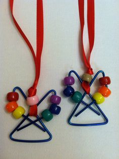 Rainbow Angel Necklace. [would be cute ornaments for the kids to make!]
