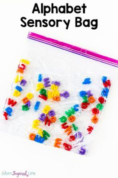 This alphabet sensory bag is such a neat, hands-on way to teach kids the alphabet! I also love that older children can use it to spell sight words or spelling words! It's an awesome activity for a literacy center or alphabet center. Alphabet Activities, Preschool Activities, Preschool Alphabet, Reading Activities, Teaching Resources, Teaching The Alphabet, Learning Letters, Preschool Literacy, Sensory Activities