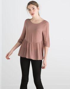 Pull&Bear - donna - novità - top manica a 3/4 - rosa gesso - 05470303-V2016