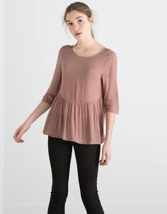 Pull&Bear - woman - blouses & shirts - mid-sleeved blouse with flounce - chalk pink - 05470303-V2016