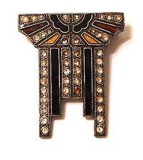 Vintage Art Deco Inspired Ocher Black Silver Tone Brooch Pin Rhinestones