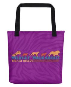 "Bag - 2017 Wildcat Walkabout Totehttps://big-cat-rescue.myshopify.com/products/bag-2017-wildcat-walkabout-toteCelebrate Big Cat Rescue's 25th anniversary and help support conservation projects aimed at saving tigers, ocelots, cougars, bobcats, and lions in the wild with the purchase of this awesome 2017 Wildcat Walkabout tote. Graphic features the Wildcat Walkabout logo silhouettes of tiger, ocelot, cougar, bobcat, and lion and the text ""Wildcat Walkabout - Big Cat Rescue - 25 Saving Big"