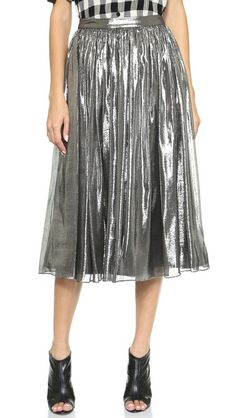 AMAZING! Ripples of undone ruching flow through an airy silk lamé alice + olivia skirt. Structured lining adds movement to the silhouette, and inset elastic panels relax the waistband.