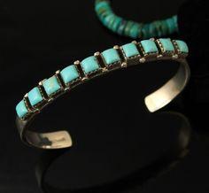 Vintage Navajo Old Pawn Greenish Turquoise Row Sterling Bracelet | eBay