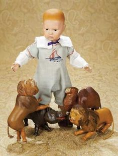 The Well-Bred Doll: 223 American Wooden Toddler with Carved Hair by Schonehut,Model 107