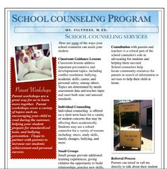 School Counseling Handout for Parents at Open House