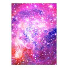 Pink & purple galaxy glitter girly nebula stars custom invites