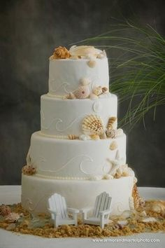 4 layer stacked Beach Cake, love the mini chairs
