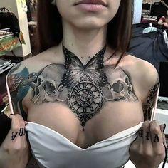 Black/White Chest Butterfly Skulls Clock Tattoo Idea