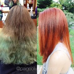 Before and after! It's a hair miracle. @samvillahair #samvillahair @hrvahairartistry #hrvahairartistry @redken5thave #redken @redkenofficial #imallaboutdahair @imallaboutdahair @modernsalon @behindthechair_com #colorcorrection #beforeandafter #haircolor #hairstyle #copperhair #stylistshopconnect #fiidnt #styleyourstory