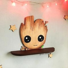 """Wooden shelf """"Baby Groot"""" Kids Wood, Furniture Dolly, Home Furniture, Nursery Design, Wall Design, Wood Art, Cool Things To Build, E Room, Picture On Wood"""