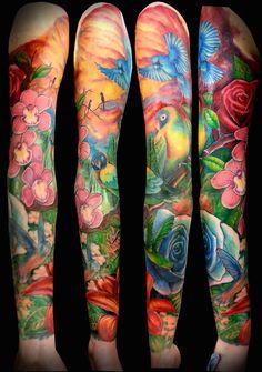 bright girly sleeve by Martin @ Ian Ink Tattoo www. bright girly sleeve by Martin … Full Sleeve Tattoos, Sleeve Tattoos For Women, Arm Tattoos, Rose Tattoos, Flower Tattoos, Body Art Tattoos, Tattoo Sleeves, Dahlia Tattoo, Pink Tattoos