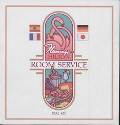 """The room service menu for the Flamingo Hilton Hotel and Casino in Las Vegas, circa 1950-1980.  Image is part of UNLV Libraries """"Menus: The Art of Dining"""" digital collection."""