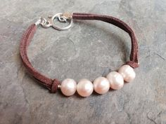 Pearl Bracelet Freshwater Pearls and Leather by JewelsbyJanine, $15.00