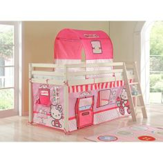 Hello Kitty Cabin Bed with Ladder and Tent - Our fun Hello Kitty cabin bed  is popular with children and parents alike as it adds a magical element to any bedroom while providing ample storage for toys. #home #children #decor