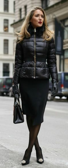 The Professional Puffer Coat  // Black quilted puffer jacket with waist belt, black asymmetrical pencil skirt, black embellished pumps, black sheer tights, black leather gloves, black bag {Ted Baker, winter workwear, what to wear, fashion blogger}