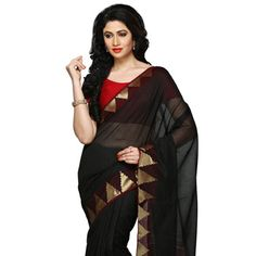 Black Art Silk Saree with Blouse