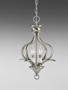 Trinity Collection Brushed Nickel 2-Light Chandelier - http://chandelierspot.com/trinity-collection-brushed-nickel-2light-chandelier-541041210/