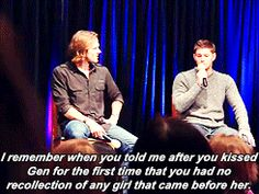 AWWWWWWWWWWWWWWWWWWW!!!!!!!!!!!!!!!!!!!!!!!! I don't know if the adorbs of this comes from the Jared/Gen love or that he told Jensen...after kissing her for the first time.