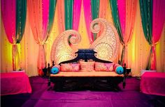 A perfect backdrop for mendhi or vibrant bollywood themes. I can see something like this being created for our brides to be house decor.