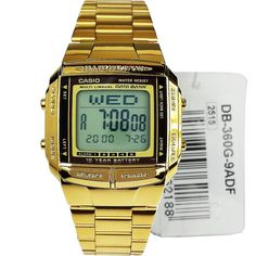 DB-360G-9A DB360G 9A Casio Gold Plated Data Bank Mens Watch