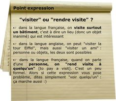 rendre visite French Language Course, French Language Learning, French Verbs, French Grammar, Ap French, French Class, French Teaching Resources, Teaching French, How To Speak French