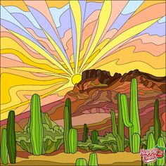 My Coloring Book Adult Coloring Pages, Coloring Books, Desert Drawing, Desert Colors, Color By Numbers, Color Games, Arte Pop, Happy Colors, Painted Rocks