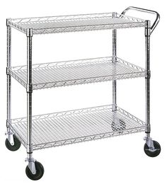 commercial utility kitchen cart service wire shelves industrial trolley wheels