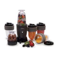 Elite Cuisine 17-Piece Personal Drink Blender with (4) 16-oz Travel-Cups, Black