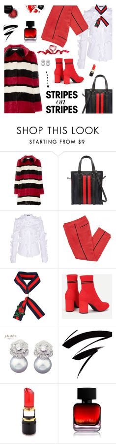 """Pattern Challenge: Stripes on Stripes"" by lacas ❤ liked on Polyvore featuring Alice + Olivia, Balenciaga, Alexander McQueen, Louis Vuitton, Concrete Minerals, Kosta Boda, Chanel, The Collection by Phuong Dang, stripesonstripes and PatternChallenge"