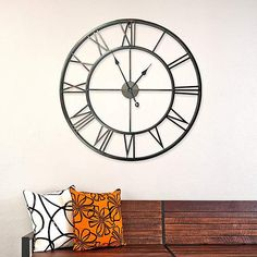 Vintage Round Roman Number Iron Oversize Rustic Metal Wall Clock Handmade Garden Outdoor Clock Living Room Bedroom Home Decoration 30 Inches Above Fireplace Decor, Fireplace Mantel, Minimal Decor, Iron Wall, New Wall, Joss And Main, Metallic Paint, Home Decor Outlet, Decoration