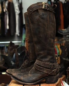 LIBERTY BLACK BOOTS DISTRESSED CHOCOLATE $348- CALL SPLASH TO ORDER 314-721-6442