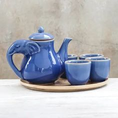 "Elephant-Themed Blue Ceramic Tea Set for 4 (6 Pieces), ""Elephant Gathering"" Pottery Teapots, Ceramic Teapots, Ceramic Cups, Elephant Teapot, Ceramic Elephant, Tea Pot Set, Tea Sets, Ceramic Workshop, Teapots And Cups"