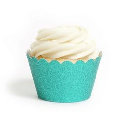 Platinum Aqua Blue Cupcake Wrappers- Reusable Glitter!! www.cupcakewrappers.ca
