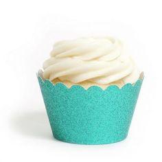 Platinum Aqua Blue Cupcake Wrappers- Reusable Glitter!! www.cupcakewrappers.ca