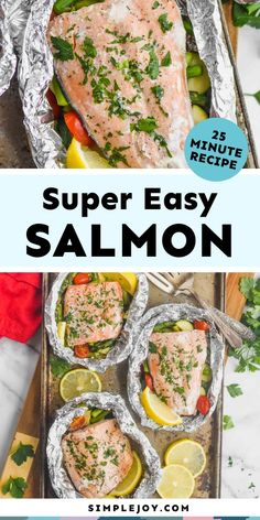 These Salmon Foil Packets are the perfect light dinner. Cook this salmon on the grill or in the oven for the perfect 25 minute dinner. Fish Recipes, Seafood Recipes, Great Recipes, Dinner Recipes, Healthy Recipes, Foil Pack Dinners, Fast Dinners, Seafood Dishes, Fish And Seafood
