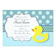 "Ducky Modern Baby Shower Invitation 5"" X 7"" Invitation Card"