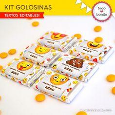 Emojis: kit etiquetas de golosinas Emoticon, Kids Decor, Diy And Crafts, Birthday Parties, Kit, Sweets, Candy, Camila, Party Ideas