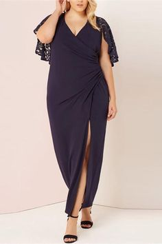 ac6ed2d5afed Plus-Size Pure Color V-Neck Splicing Lace Evening Dress