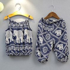 bb0a81aa2108 2Pcs Set Kids Baby Girls Elephant Jumpsuit Romper