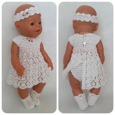 Lilac crocheted dress for baby born doll. Dress for baby born is decorated with roses of satin ribbons - Purple crocheted dress born for baby doll. Dress for baby born - Knitting Dolls Clothes, Crochet Doll Clothes, Doll Clothes Patterns, Clothing Patterns, Mini Bebidas, Baby Born Clothes, Baby Pop, New Years Outfit, Lace Knitting