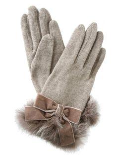 Wool jersey knot w/rabbit trim