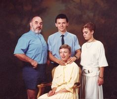 Awkward family photo: The Choke.  Don not be so distracted by the choke that you miss dad in shorts.  Dang.