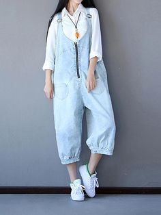 d344ad05b61 Boohoo Zipper Denim Overall Dungarees, while you are cold Team yours with a  long-