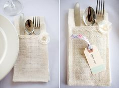 Rustic-DIY-Country-Wedding: Neat idea - make napkins that hold the cutlery - personalize for own wedding - fabric