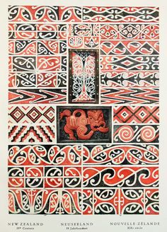 New Zealand Maori, Modern Period Wooden Designs. Vintage Print, Colour Lithograph by Bossert Tatoo Designs, Maori Designs, Cultural Patterns, Maori Patterns, Maori People, Polynesian Art, New Zealand Art, Maori Art, Kiwiana
